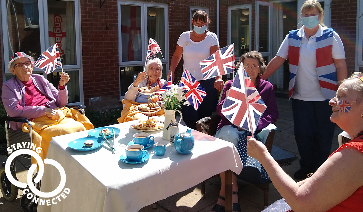 Maiden Castle House care home on VE Day 2020